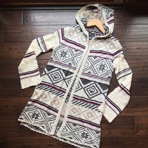 Wet Seal gray snowflake hooded open cardigan gray